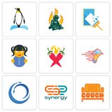 Set Of 9 simple editable icons such as couch, synergy, import export. Catering services, chili pepper, doll, window cleaning, firemen, penguin, can be used for Royalty Free Stock Image