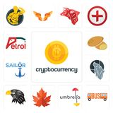 Set of cryptocurrency, , umbrella, maple leaf, eagle head, wolf, sailor, potato, petrol icons. Set Of 13 simple editable icons such as cryptocurrency, , umbrella Stock Images