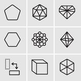 Set Of 9 simple editable icons such as Cube, Rotate, Octahedron, Hexagon, Diamond, Icosahedron, Pentagon, pixel perfect vector ico. Set Of 9 simple editable Royalty Free Stock Image