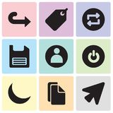 Set Of 9 simple editable icons such as Cursor, Copy, Night, Power, User, Diskette, Repeat, Tag, Right arrow, pixel perfect vector. Set Of 9 simple editable icons Stock Images