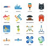 Set of cyclist, drones, stick figure, golf tournament, disability, happy thanksgiving, confectionery, home paint, railway icons. Set Of 16 simple editable icons Stock Image