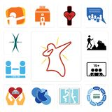 Set of dab, discussion board, broken glass, telecom, car dealer, number players, hiker, elastic icons. Set Of 13 simple editable icons such as dab, discussion Stock Photo