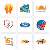 Set Of 9 simple editable icons such as dachshund, hot rod, 15th anniversary. French bulldog, f, insurance, indian food, football, prayer hands, can be used for Stock Photo