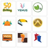 Set Of 9 simple editable icons such as debate, chess knight, 100 guarantee. Spartan shield, toucan, norse, veg, venus, 50th birthday, can be used for mobile Stock Photo