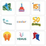 Set Of 9 simple editable icons such as debate, venus, prayer hands. 50th birthday, caviar, upward, 15th anniversary, 1st football, can be used for mobile, web Royalty Free Stock Images