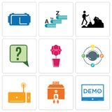 Set Of 9 simple editable icons such as demo, bank branch, set top box. Travel agent, orchid, inquiry, hiker, vocabulary, vr headset, can be used for mobile Royalty Free Stock Photography