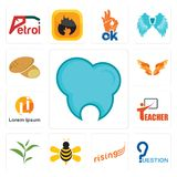Set of dental clinic, question, rising, honey bee, tea leaf, teacher, , angel wings, potato icons. Set Of 13 simple editable icons such as dental clinic Royalty Free Stock Photography
