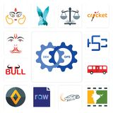 Set of devops, bollywood, drift, raw file, renault, bus, bull, hsc, anjaneya icons. Set Of 13 simple editable icons such as devops, bollywood, drift, raw file Stock Image