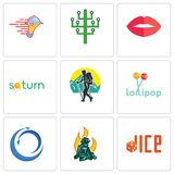 Set Of 9 simple editable icons such as dice, firemen, import export. Lollipop, trekking, saturn, lips, digital tree, catering services, can be used for mobile Royalty Free Stock Photo