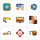 Set Of 9 simple editable icons such as digger, fire station, train. Chess knight, 100 guarantee, toucan, sagittarius, 40th birthday, camera, can be used for Royalty Free Stock Photos