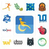 Set of disability, hands shaking, wolf face, chess, taxi, boxer, texas, 10 year, swim and dive icons Royalty Free Stock Image