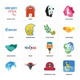 Set of disability, motorcycle club, , home paint, hand shaking, olive leaves, century, hockey stick icons. Set Of 16 simple editable icons such as disability Stock Image