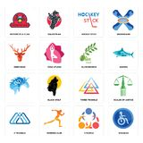 Set of disabled, 3 people, triangle, three, olive branch, deer head, hockey stick, motorcycle club icons. Set Of 16 simple editable icons such as disabled, 3 Stock Images