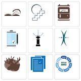 Set Of 9 simple editable icons such as discussion board, specification, moose. Elastic, sprinkler, order form, electric meter, next steps, page turn, can be Royalty Free Stock Photos