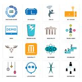 Set of distributor, elastic, christmas bulb, 360 degree, moose, municipality, demo, join us, discussion board icons. Set Of 16 simple editable icons such as Stock Image