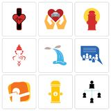 Set Of 9 simple editable icons such as distributor, fire hydrant, dab. Discussion board, waterfall, ganesh, car dealer, tracker, can be used for mobile, web Royalty Free Stock Image