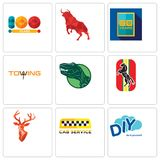Set Of 9 simple editable icons such as diy, cab service, stag head. Horse, dino, towing, 50 year, bull, 100 can be used for mobile, web Stock Photo