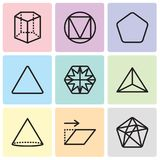 Set Of 9 simple editable icons such as Dodecahedron, Transform, Cone, Tetrahedron, Hexagon, Triangle, Pentagon, Cylinder, pixel pe. Set Of 9 simple editable Royalty Free Stock Photography
