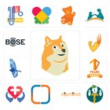 Set of doge, boy scout, capitalist, new instagram, healt, 10 years warranty, bird, superpower, bose icons. Set Of 13 simple editable icons such as doge, boy Royalty Free Stock Images