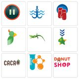 Set Of 9 simple editable icons such as donut shop, chemical company,. Military, lizard, boxing gloves, navy anchor, pause, can be used for mobile, web Stock Photography
