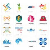 Set of drones, fortress, metropolis, , golf tournament, yoga studio, masquerade, railway, generic icons. Set Of 16 simple editable icons such as drones, fortress Royalty Free Stock Image