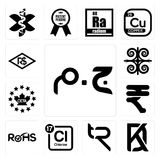 Set of egyptian pound, kd, tr, periodic table chlorine, rohs, rupees, ceta, , brazilian real icons. Set Of 13 simple editable icons such as egyptian pound, kd Stock Photos