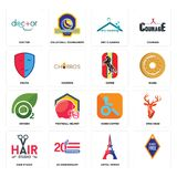 Set of, eiffel tower, hair studio, handicapped, oxygen, horse, drama, dry cleaning, doctor icons. Set Of 16 simple editable icons such as, eiffel tower, 20 Stock Images