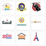 Set Of 9 simple editable icons such as eiffel tower, lodging, 20 anniversary. Churros, free, courage, volleyball tournament, celebrating 25 years, can be used Royalty Free Stock Photography