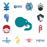 Set of elephant, hallmark, catering, c fire, nargile, , buffalo brand, king kong, comma icons. Set Of 13 simple editable icons such as elephant, hallmark Royalty Free Stock Photo