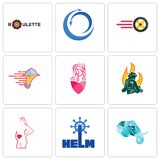 Set Of 9 simple editable icons such as elephant head, helm, maternity. Firemen, salon, catering services, tire business, import export, roulette, can be used Royalty Free Stock Photos