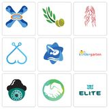 Set Of 9 simple editable icons such as the elite, hands shaking, security camera. Kindergarten, swim and dive, fishing hook, long hair, olive leaves, snowboard Royalty Free Stock Image