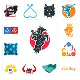 Set of equestrian, sunday, hand shaking, bull horn, 5 star, 3 people, pillow, royal lion, restroom icons. Set Of 13 simple editable icons such as equestrian Stock Image