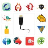 Set of ethernet, extend, output, taurus professional, free brain, yield, pinapple, tiger, myth icons. Set Of 13 simple editable icons such as ethernet, extend Royalty Free Stock Photos