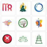 Set Of 9 simple editable icons such as ever tree, holistic, cancel. Volleyball team, olive catering services, import export, firemen, virgo, can be used for Stock Photo