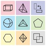 Set Of 9 simple editable icons such as Exclude, Octahedron, Hexagon, Pentagon, Triangle, Sphere, Rotate, Pyramid, Hexahedron, pixe. Set Of 9 simple editable Stock Image