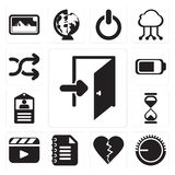 Set of Exit, Volume control, Dislike, Notepad, Video player, Hourglass, Id card, Battery, Shuffle, editable icon pack stock illustration