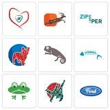 Set Of 9 simple editable icons such as f, judo, frog. Fish skeleton, chameleon, french bulldog, zipper, antelope, insurance, can be used for mobile, web Royalty Free Stock Photo