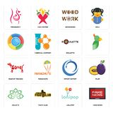 Set of fake news, lollipop, holistic, import export, year the dog, roulette, , woodwork, pregnancy icons. Set Of 16 simple editable icons such as fake news Royalty Free Stock Images