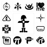 Set of fallen soldier, nf, cuban peso, pi, neon, defroster, fire dept, n s e w, carcinogen icons. Set Of 13 simple editable icons such as fallen soldier, nf Stock Photography