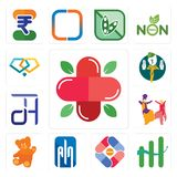 Set of farmacy, continuous improvement, pharma company, ain, , bhangra, dth, boy scout, jewlery icons. Set Of 13 simple editable icons such as farmacy Stock Image
