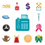 Set of fax, campsite, golden rose, carpet, tree stump, world cancer day, mercedes, radio tower, auto glass icons. Set Of 13 simple editable icons such as fax Stock Image