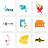 Set Of 9 simple editable icons such as fight club, chick, maternity. Couch, window cleaning, roulette, chili pepper, elephant head, turbine, can be used for Stock Images