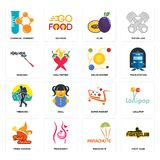 Set of fight club, parachute, fried chicken, super market, trekking, solar system, mascara, plum, chemical company icons. Set Of 16 simple editable icons such as Stock Photo