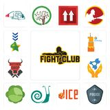 Set of fight club, police badge, dice, snails, cabbage, chemist, butcher shop, first birthday, military icons. Set Of 13 simple editable icons such as fight club Royalty Free Stock Photo