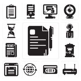 Set of File, Router, Vhs, Earth grid, Browser, Mailbox, Newspaper, News reporter, Hourglass icons. Set Of 13 simple editable icons such as File, Router, Vhs Stock Images