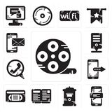 Set of Film reel, Smartphone, Mailbox, Open book, Vhs, Phone call, Server, Smartphone icons. Set Of 13 simple editable icons such as Film reel, Smartphone Stock Image