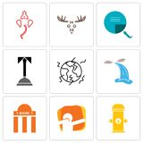 Set Of 9 simple editable icons such as fire hydrant, dab, bank branch. Waterfall, earthquake, concierge, page turn, moose, ganesh, can be used for mobile, web Stock Photos