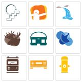 Set Of 9 simple editable icons such as fire hydrant, set top box, electric meter. Telecom, vr headset, moose, waterfall, dab, next steps, can be used for Stock Photo