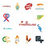 Set of firehouse, ct scan, corn dog, ashoka, comunication, fastclick, attendance, cashback, double p icons. Set Of 13 simple editable icons such as firehouse, ct Stock Photo