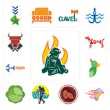 Set of firemen, catering services, cacao, trekking, cabbage, , triple, year the dog, butcher shop icons. Set Of 13 simple editable icons such as firemen Stock Photos